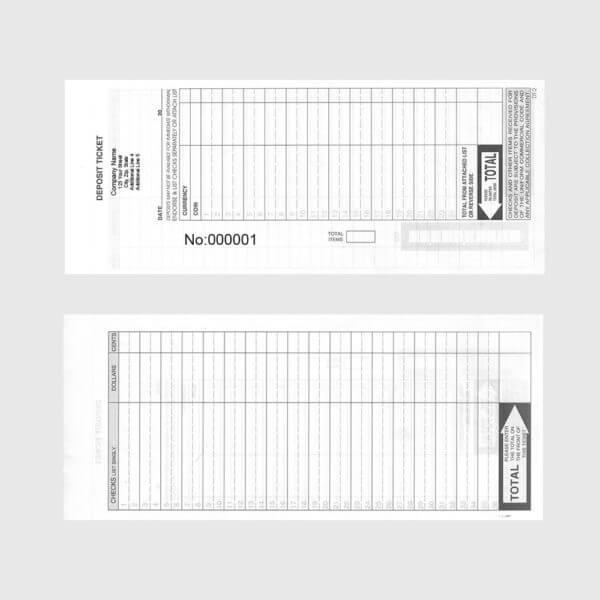 deposit ticket book