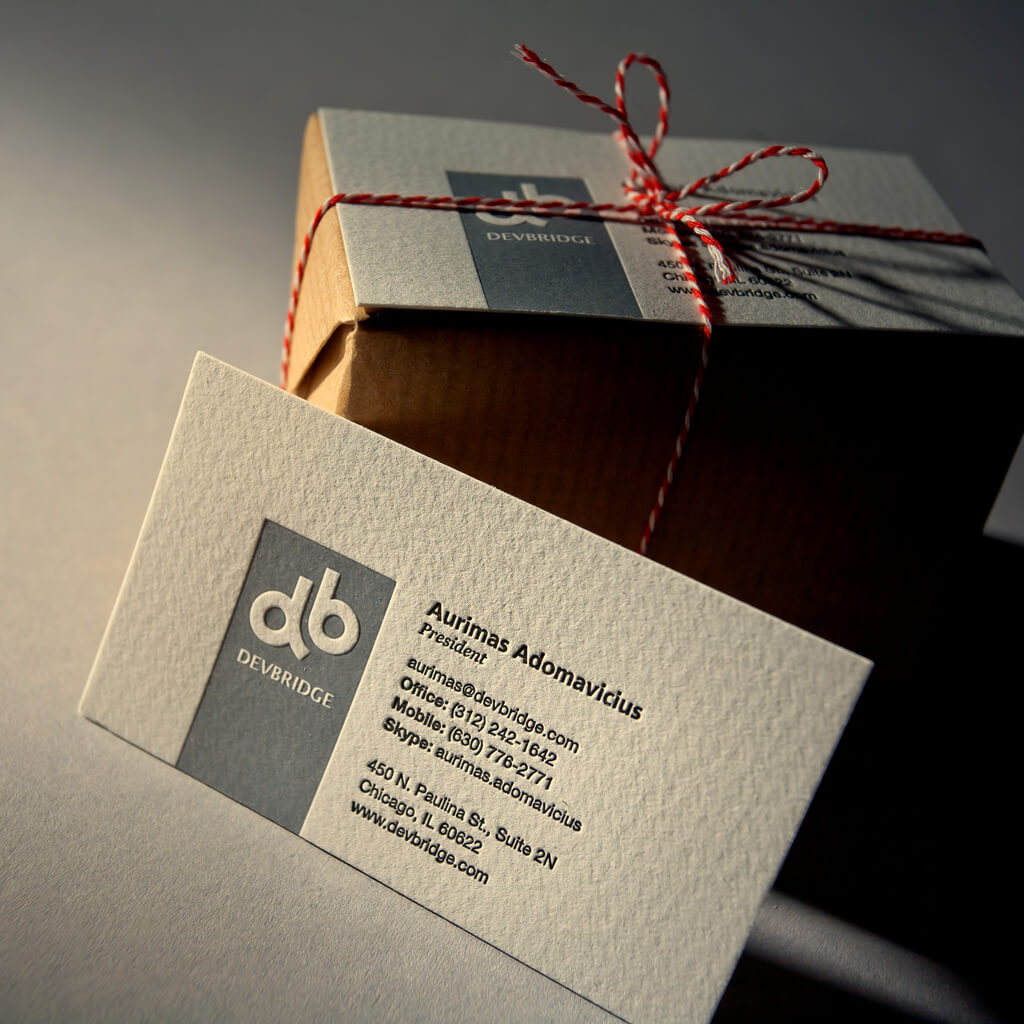 business card and package