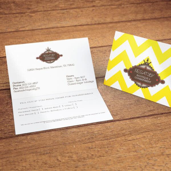 foldover business cards inside