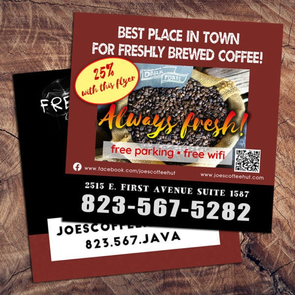 square flyer, coffee