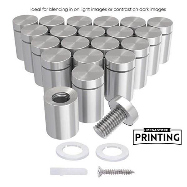silver steel standoffs for acrylic prints