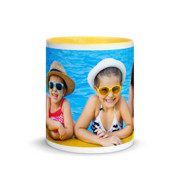 photo mug with yellow color inside