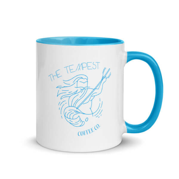 photo mug with blue color inside
