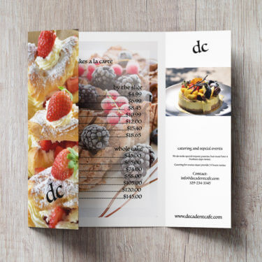 bakery and cafe, gate-fold brochure