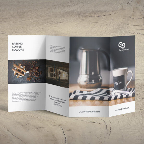 coffee coffee brochure, double parallel fold