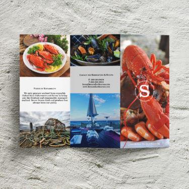 seafood restaurant z-fold brochure