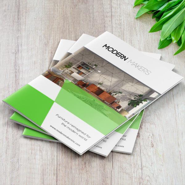 stack of booklets, furnature store, megastore printing